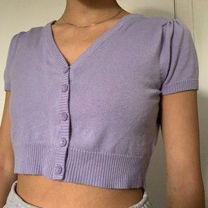 CROPPED LILAC SHORT SLEEVE CARDIGAN BUTTON UP